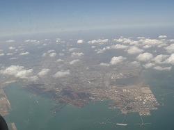 空から見た、中国青島